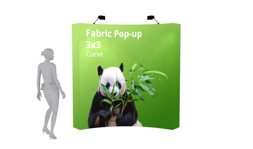 Fabric Display 3x3 Curve Front View
