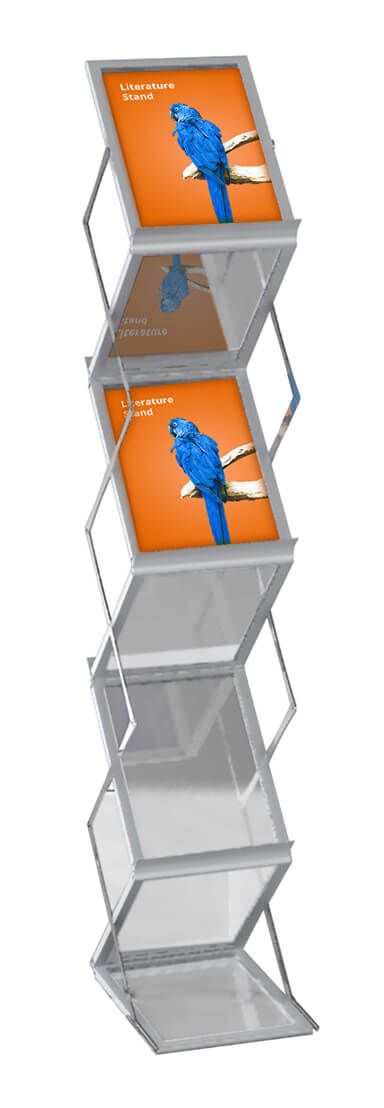 literature and brochure displays for exhibitions, conferences and events  available for A4 and A5 sizes.