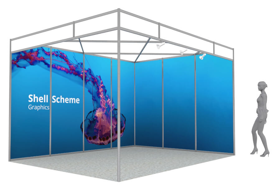 exhibition shell scheme graphics  to fit any size or shape shell scheme, panels made to measure