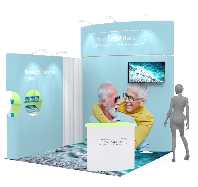 modular exhibition stand designed and built by Black Robin Exhibits, for hire or purchase.