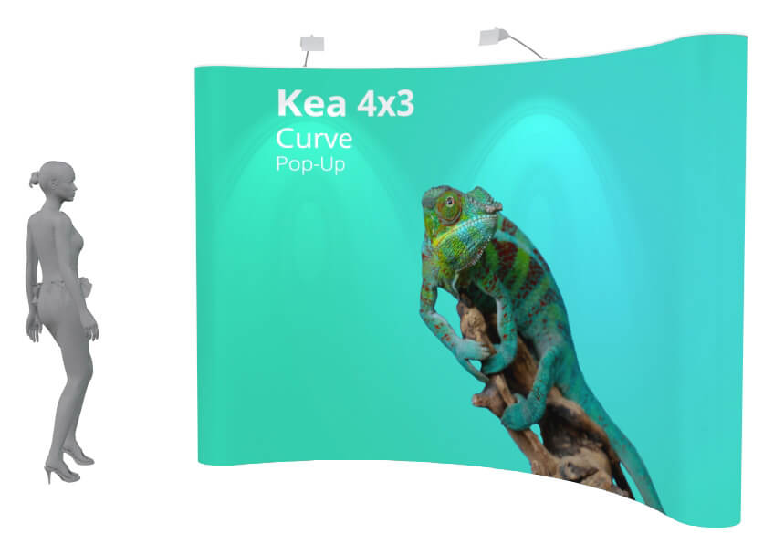 High quality, curved and straight exhibition pop up display available single and double sided.